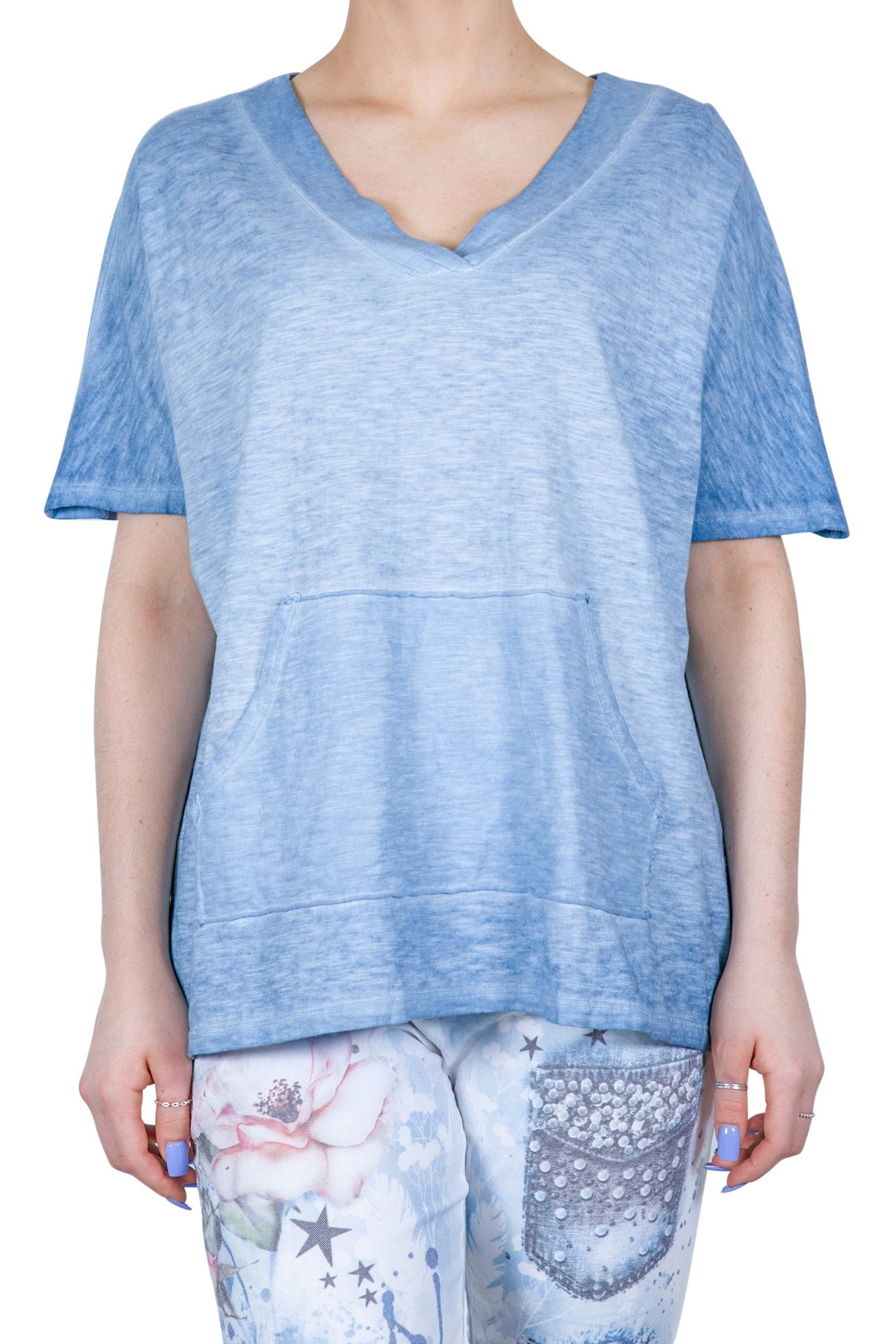 ETERNELLE COTTON TSHIRT WITH POCKETS -BLUE