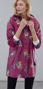 JOULES RIGHT AS RAIN JACKET PACKABLE BERRY PEONY