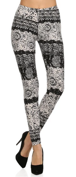 Load image into Gallery viewer, B/W NEW LACE  - REGULAR BAND LEGGING FLIRTY AND FEMME
