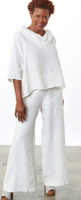 BRYN WALKER LINEN LONG FULL PANT BLACK