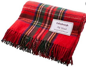 "Edinburgh wool blankets Royal stewart 70""x60"""