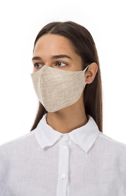 GRIZAS FACE MASK non medical  L258 LINEN AND COTTON SAND BEIGE