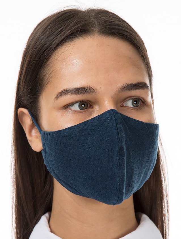GRIZAS FACE MASK non medical  184 LINEN AND COTTON DARK BLUE