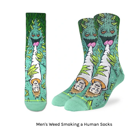 GOOD LUCK SOCK- WEED SMOKING HUMANS  SIZE 8-13C