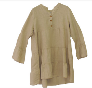 MADE IN ITALY LINEN TUNIC/DRESS 4-PLD136 BEIGE