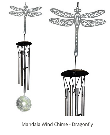 MANDALA WIND CHIME SILVER DRAGONFLY