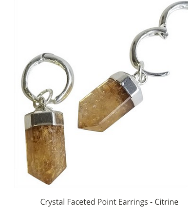 CITRINE FACETED POINT SILVER EARRINGS