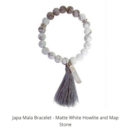 MALA BRACCELET WHITE HOWLITE AND MAP STONE