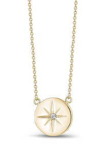 "ARZ STEEL NORTH STAR PENDANT 17"" CHAIN ZW-N02-17"