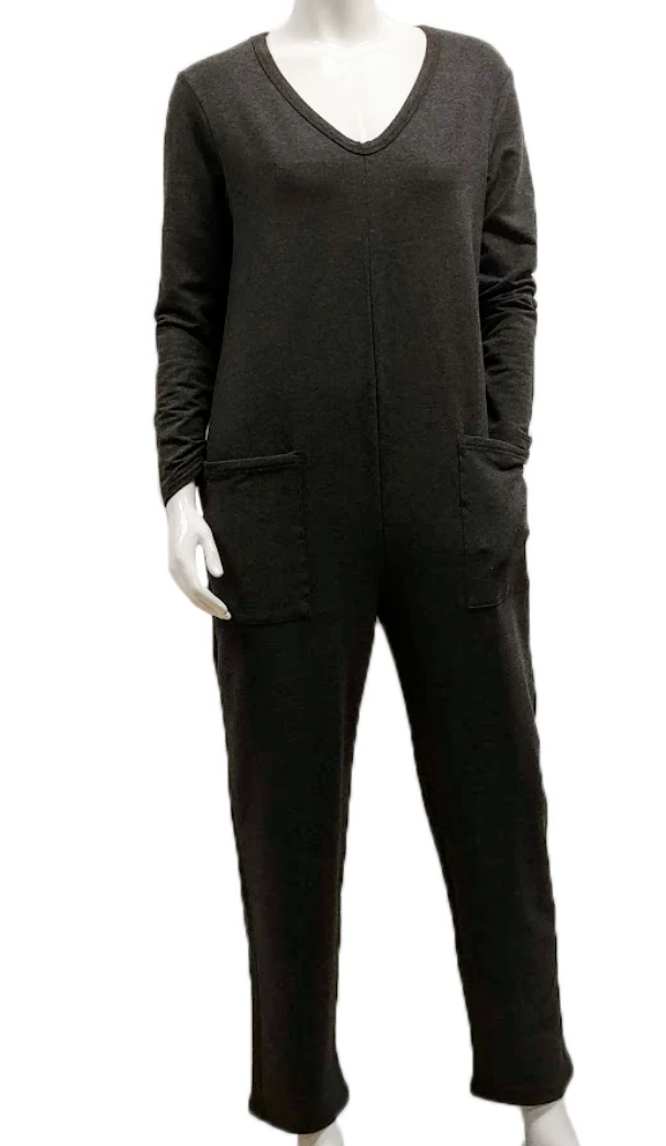 GILMOUR FRENCH TERRY POCKET JUMPSUIT  CHARCOAL