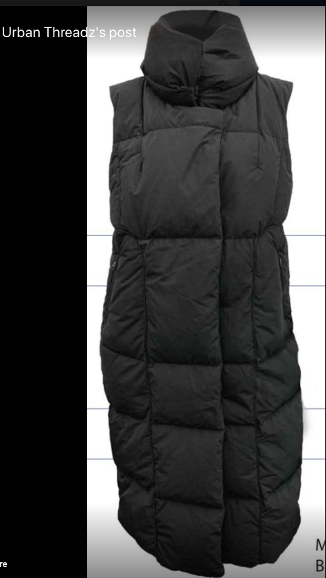 VEGAN DOWN LONG VEST -BLACK