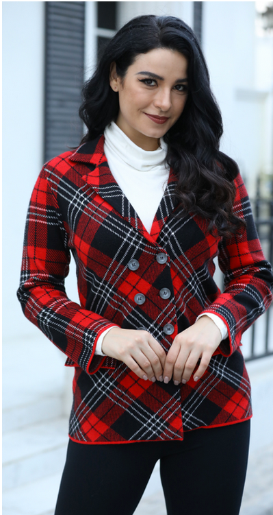 PLAID FALL COAT 7071