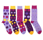 Load image into Gallery viewer, FRIDAY SOCKS BOX OF 5  - MENS PURPLE DOTS