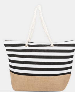 ALOHA TOTE BAG IN CANVAS BLACK STRIPE TTE4011