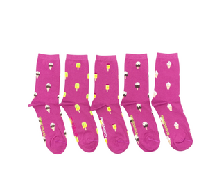 FRIDAY SOCKS BOX OF 5  - WOMEN ICECREAM SIZE 5-10