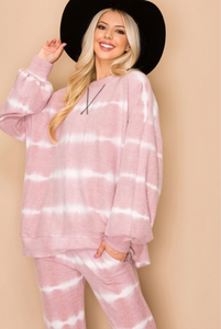 LOVELY J TIE DYE SWEATER PINK