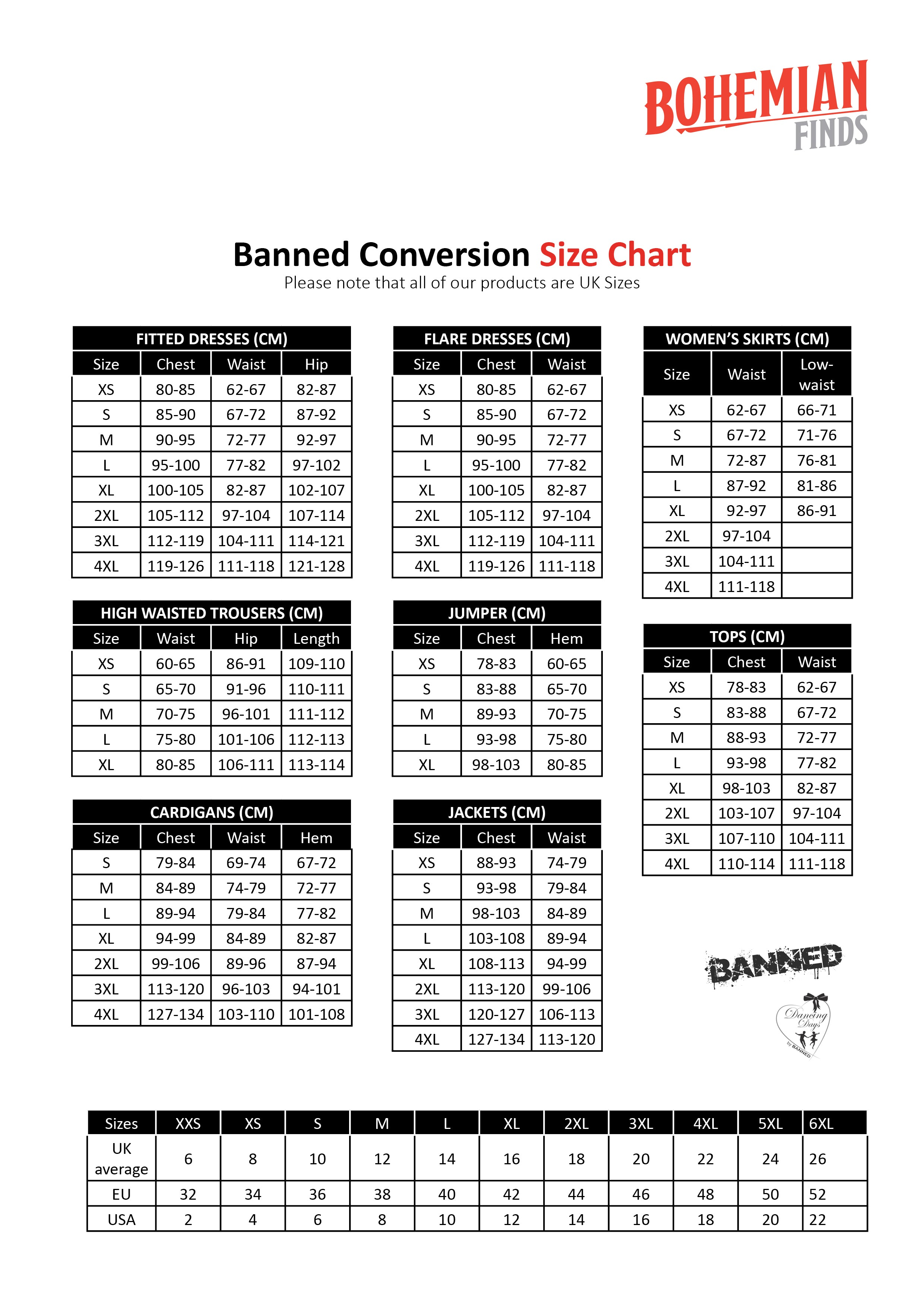 Banned Apparel Size Guide