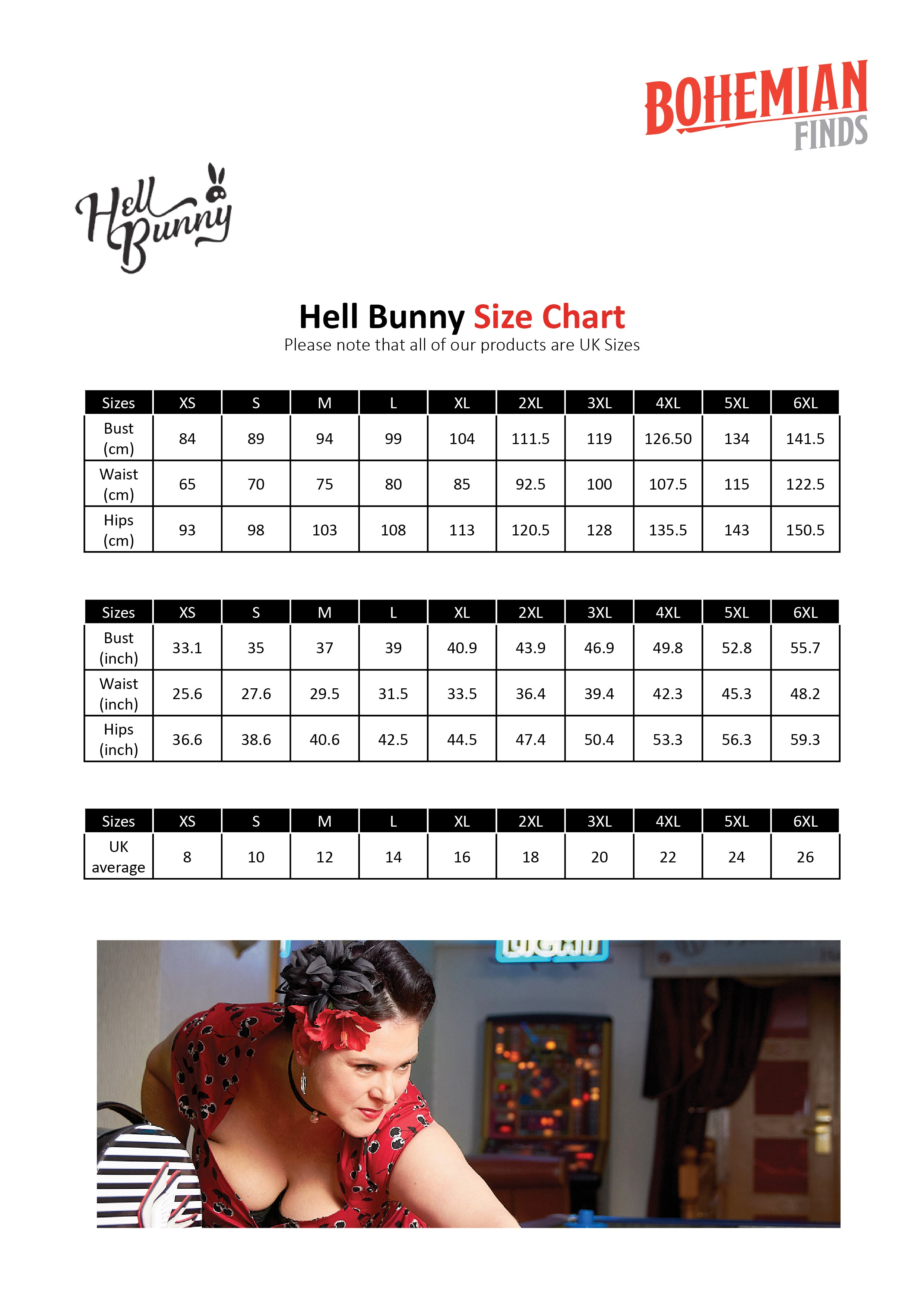 Hell Bunny Size Guide not display