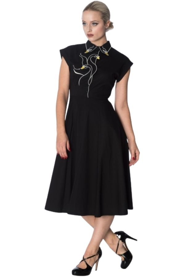 Banned Retro 50s Swan Lake Black Longer Dress - Bohemian Finds