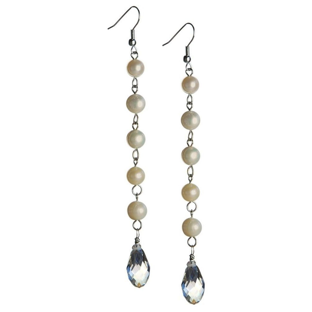 Rosie Fox Pearl Long Drop Earrings - Bohemian Finds