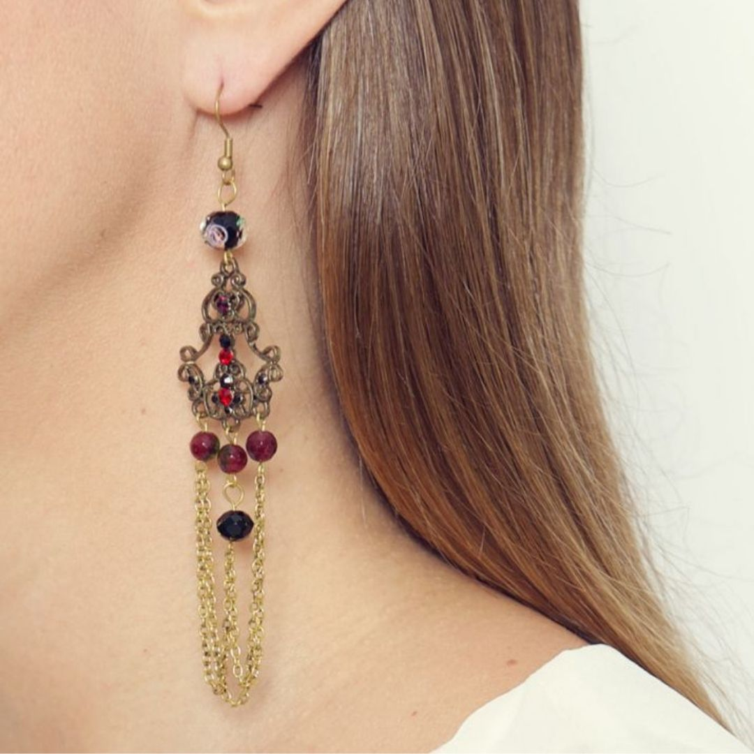 Rosie Fox  Natural Tourmaline Vintage Earrings - Bohemian Finds