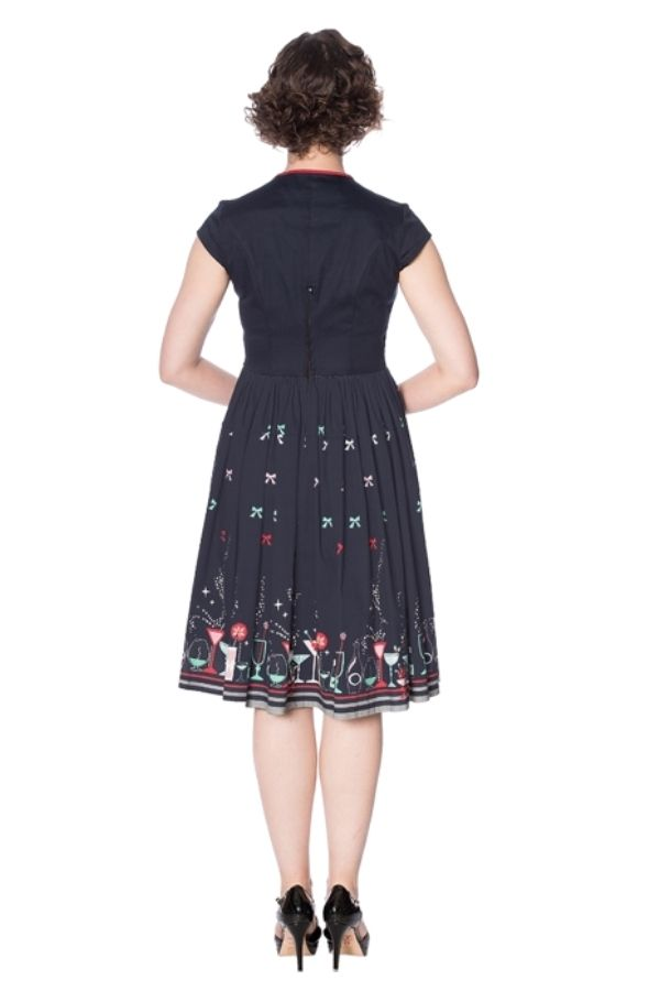 Banned Retro 50s Christmas Cocktails Black Swing Dress - Bohemian Finds