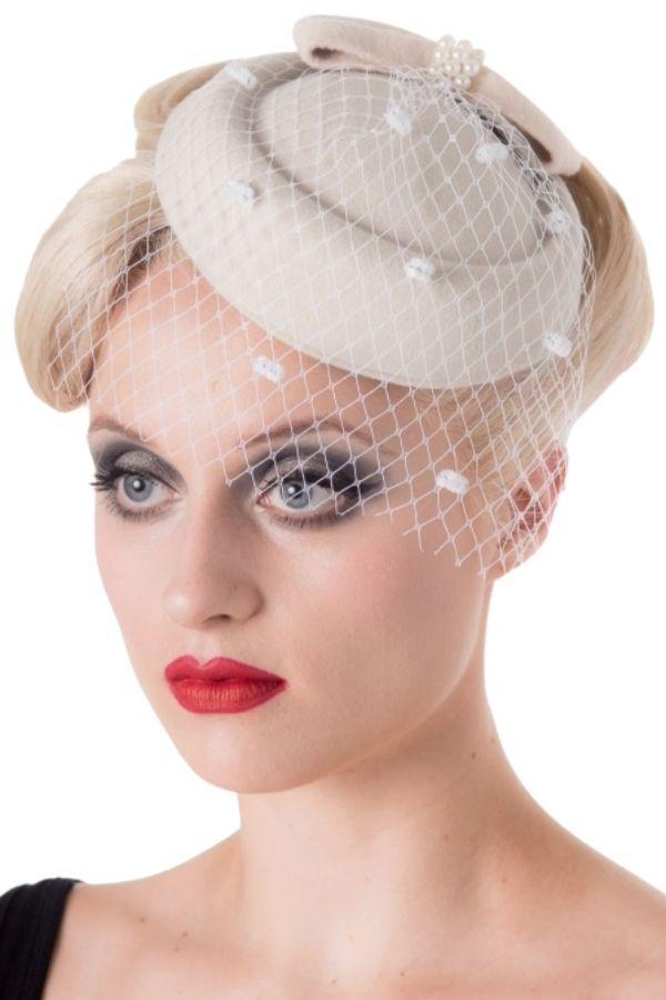 Banned Judy Cream Vintage Retro Pillbox Hat - Bohemian Finds