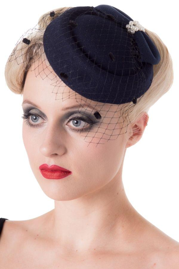 Banned Judy Navy Vintage Retro Pillbox Hat - Bohemian Finds