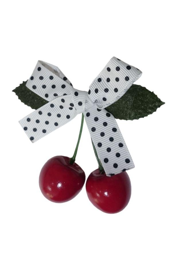 Banned Retro 50s White Hamilton Cherry Hairclip - Bohemian Finds