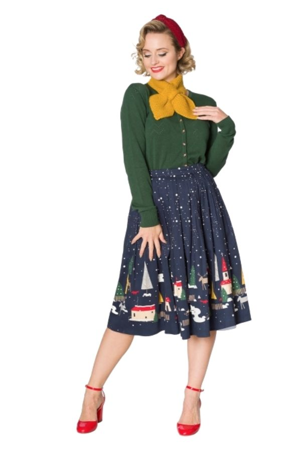 Banned Retro 50s Christmas Town Pleated Skirt - Bohemian Finds