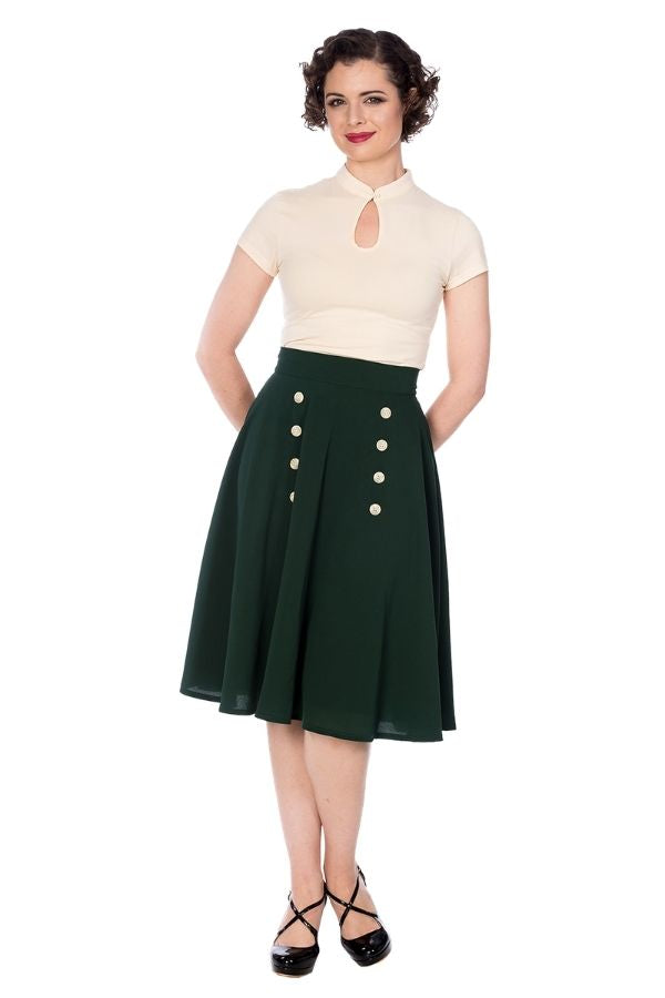Banned Retro 50s Cute as a Button Skirt in Forest Green - Bohemian Finds