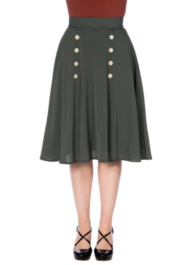 Banned Retro 50s Cute as a Button Skirt in Olive Green - Bohemian Finds