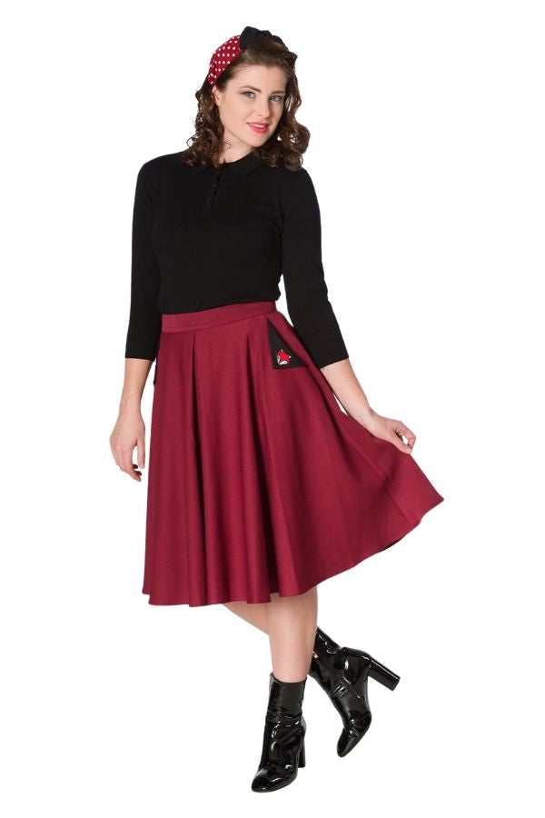 Banned Retro 50s Foxy Burgundy Skirt - Bohemian Finds