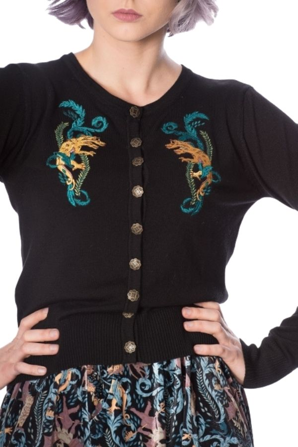 Banned Retro 50s Liberty Dragons Cardigan - Bohemian Finds