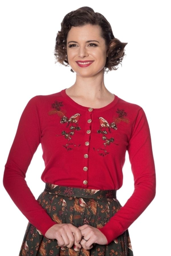 Banned Retro 50s Rockin Robin Red Cardigan - Bohemian Finds