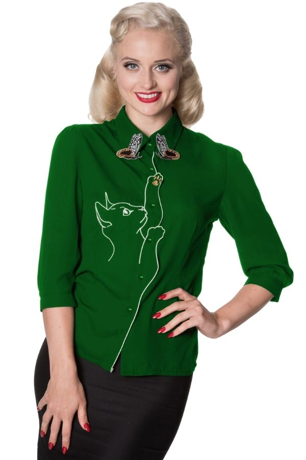 Banned Retro 50s Snow Bird Green Shirt - Bohemian Finds