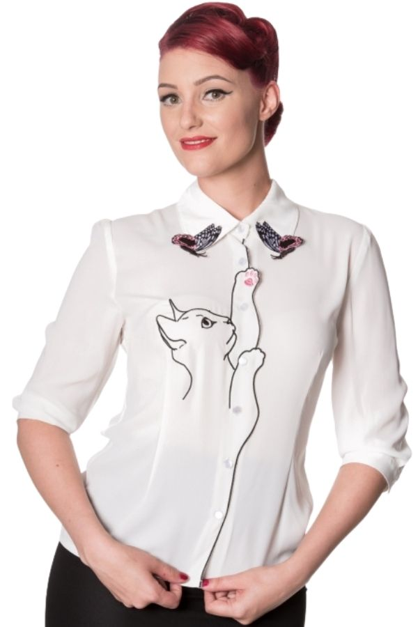 Banned Retro 50s Snow Bird White Shirt - Bohemian Finds