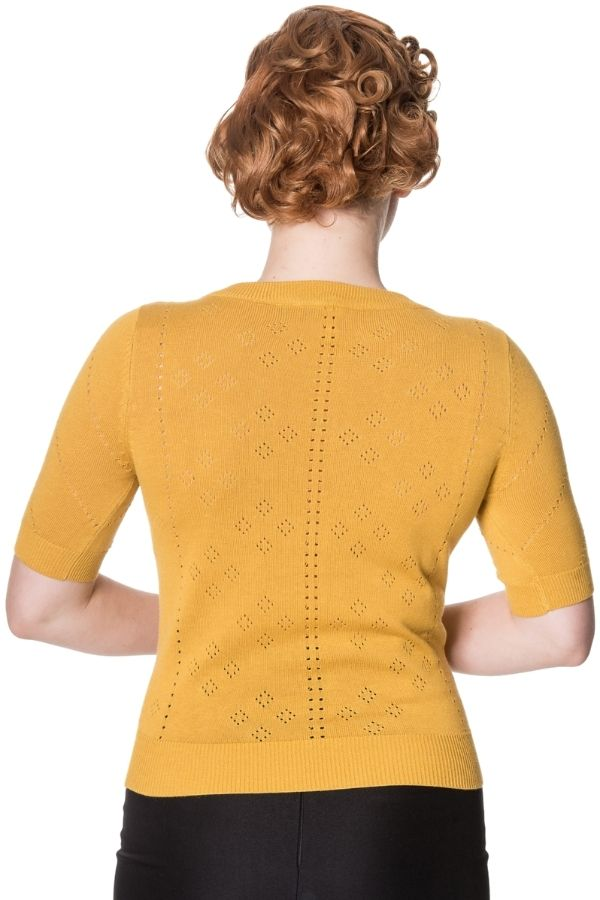 Banned Retro 50s Tear Drop Mustard Top - Bohemian Finds