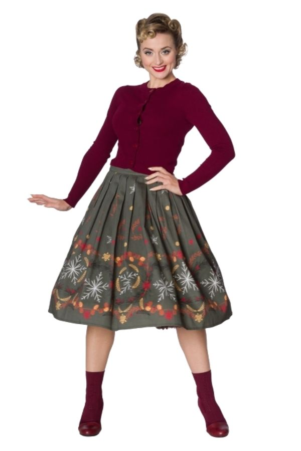Banned Retro 50s Winter Leaves Skirt - Bohemian Finds