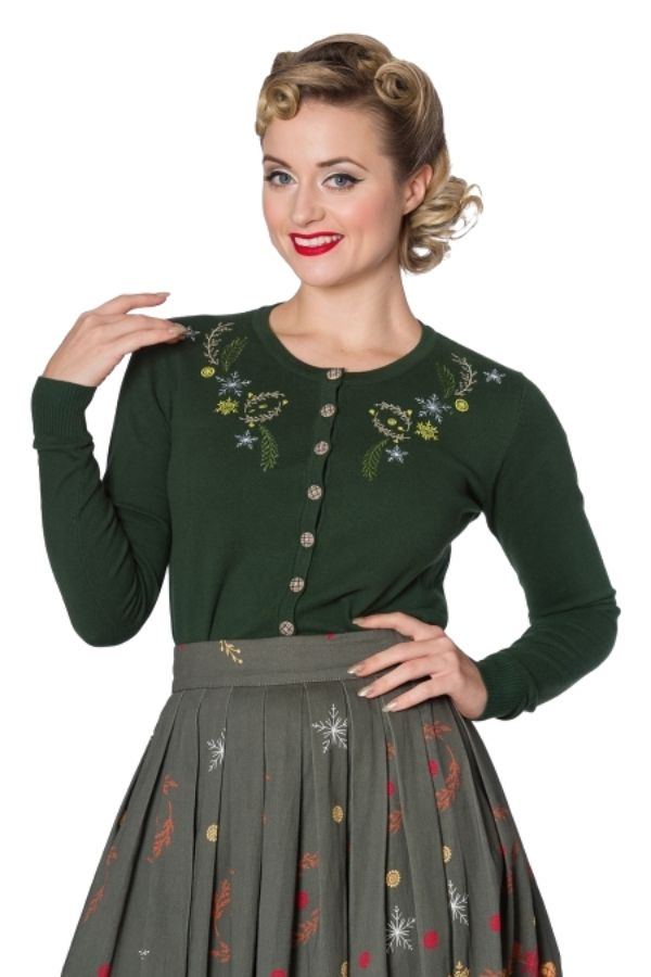 Banned Retro 50s Winter Leaves Green Embroidery Cardigan - Bohemian Finds