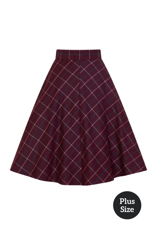 Banned Retro 50s Maddy Flare Skirt in Burgundy - Bohemian Finds