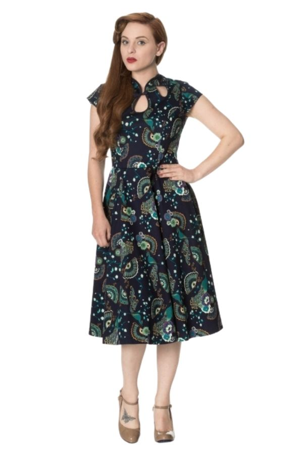 Banned Retro 50s Proud Peacock Cut Out Swing Dress - Bohemian Finds