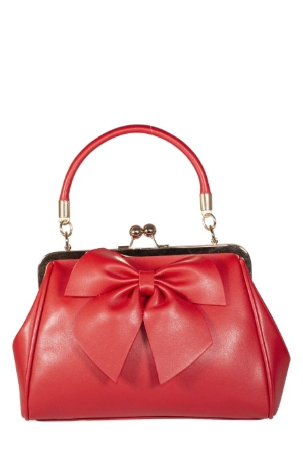 Banned Retro 50s Lockwood Bow Red Handbag - Bohemian Finds