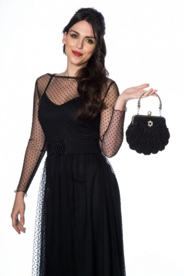 Banned Retro 20s Eleanor Beaded Black Handbag - Bohemian Finds