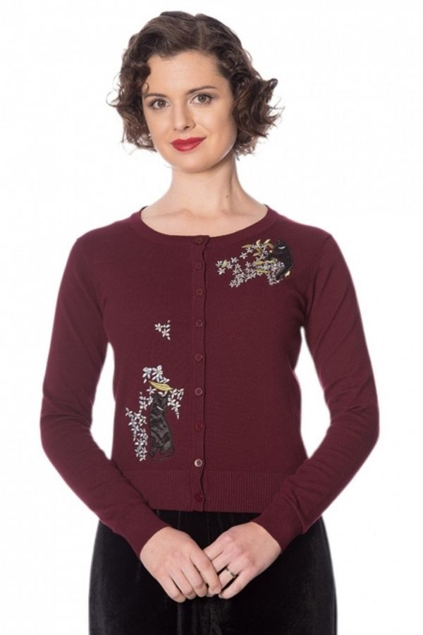 Banned Retro 50s Cat Bloom Embroidery Cardigan - Bohemian Finds