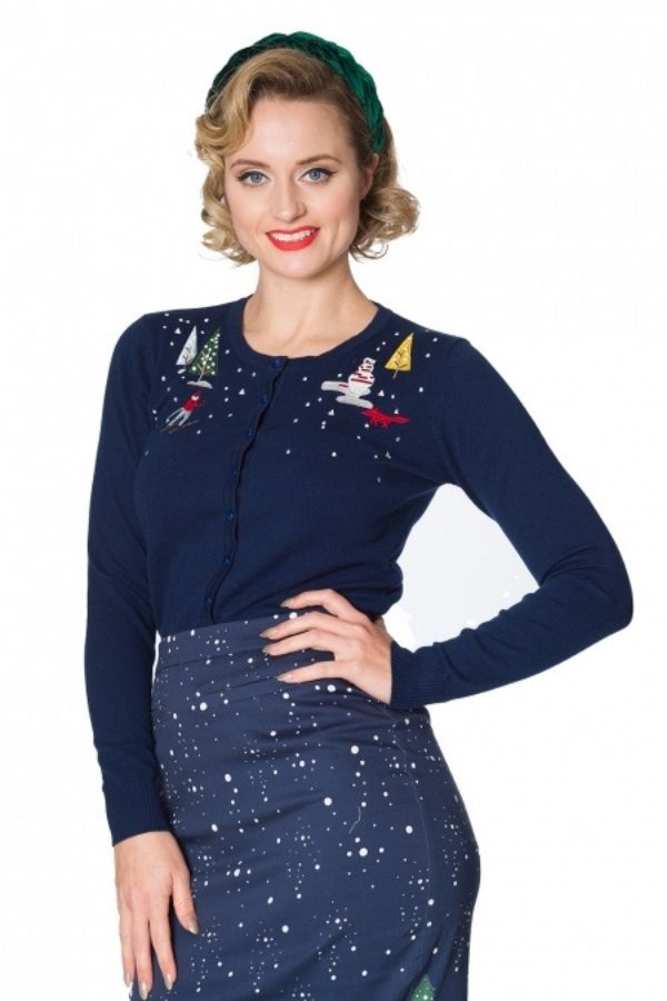 Banned Retro 50s Christmas Town Embroidered Cardigan - Bohemian Finds