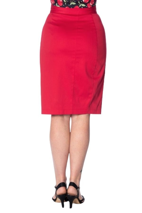 Banned Retro 50s Rockin Red Pencil Skirt - Bohemian Finds