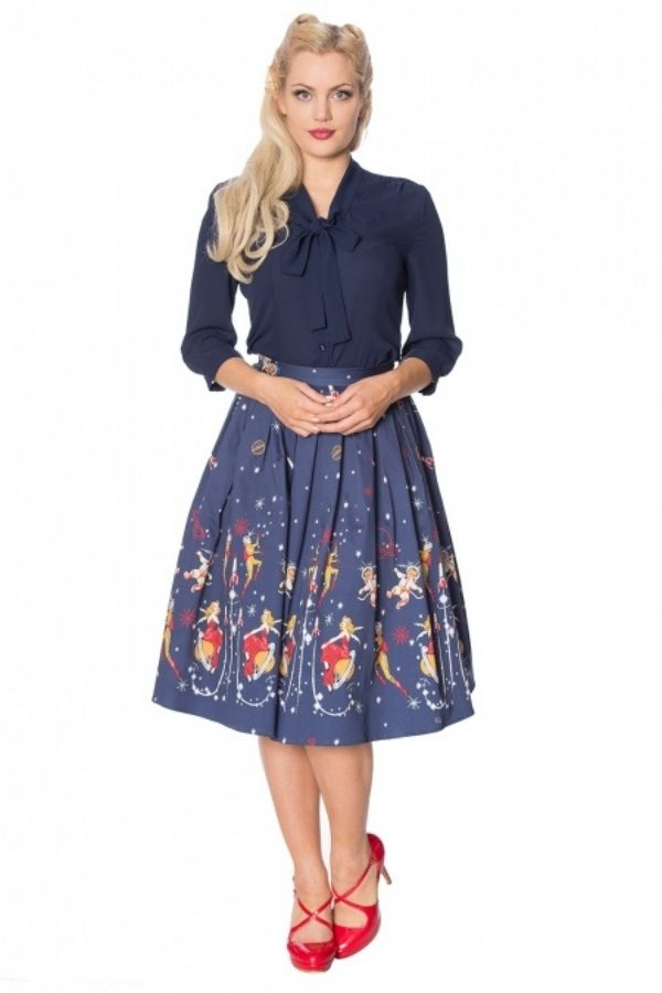 Banned Retro 50s Space Vamp Border Print Skirt - Bohemian Finds