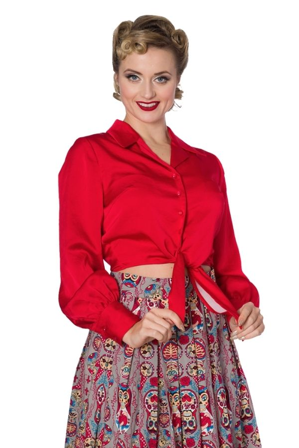 Banned Retro 50s Suave Rockabilly Blouse - Bohemian Finds