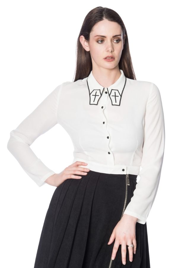 Banned Retro Gothic Undertaker Blouse - Bohemian Finds